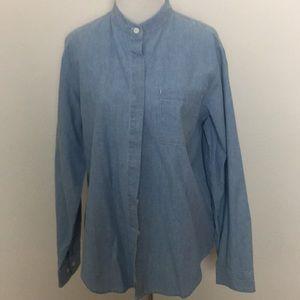 Orvis blue button down shirt Nehru collar 12 NMT